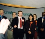 Victorious ABeeC candidate Luke Kirton as the results are announced. We like the faces of the smirking Tories & Lib Dems to the left, and the narked off Labour bods on the right, including Seema Malhotra, now MP for Feltham & Heston!