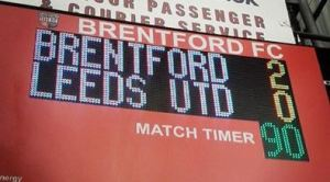 Brentford vs Leeds scoreboard with thanks to Jan Smith