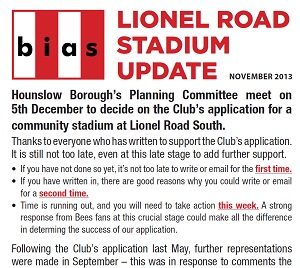 Lionel Road Stadium Update