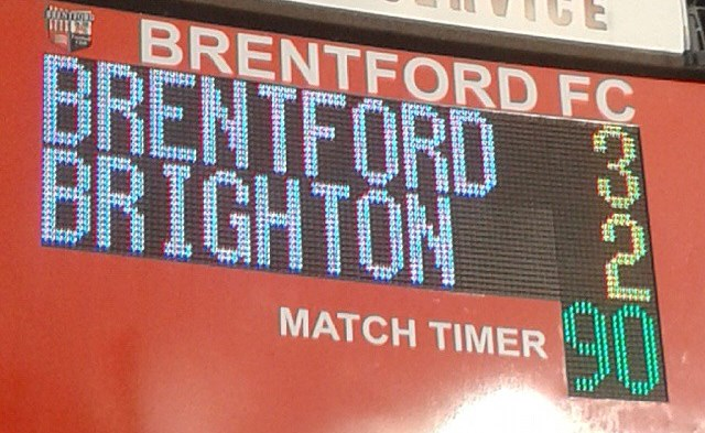 Brentford scoreboard With thanks to Jan Smith